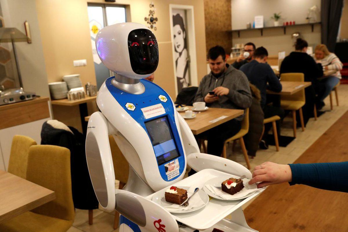 A robot server in a restaurant